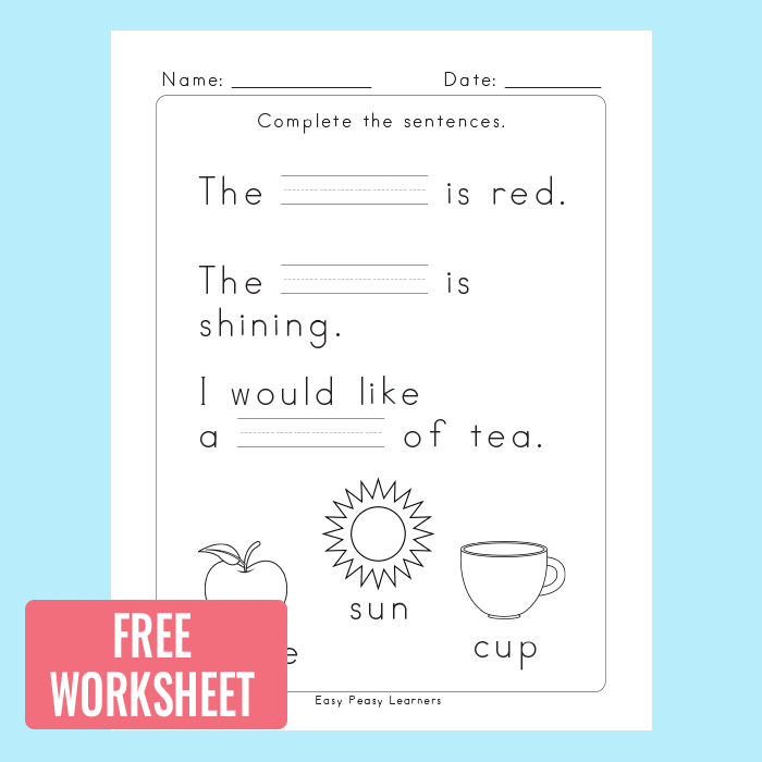 Fill in The Blanks Sentence Completion Worksheets Easy Peasy – Fill in the Blanks Worksheets