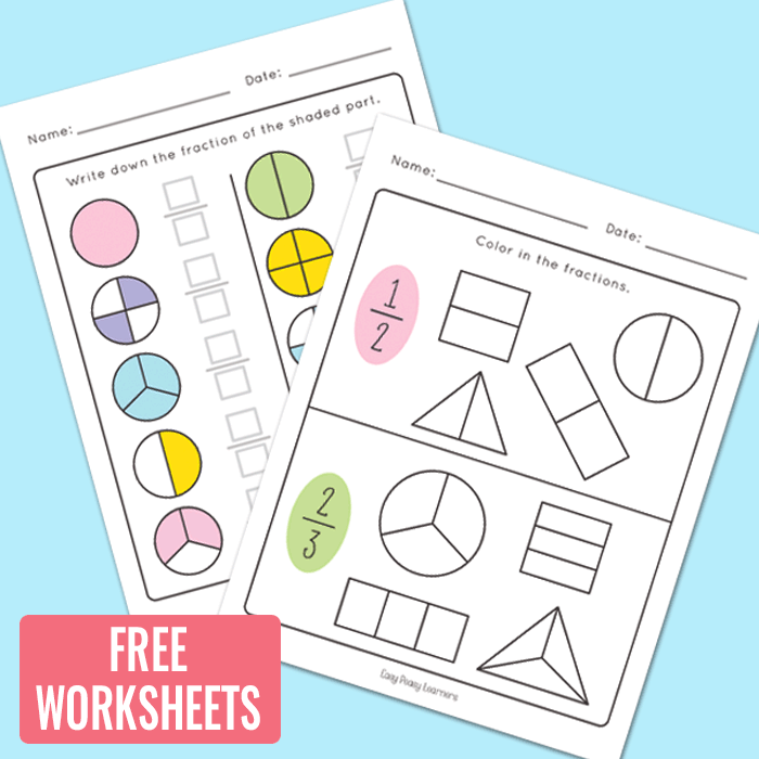 First Grade Fractions Worksheets