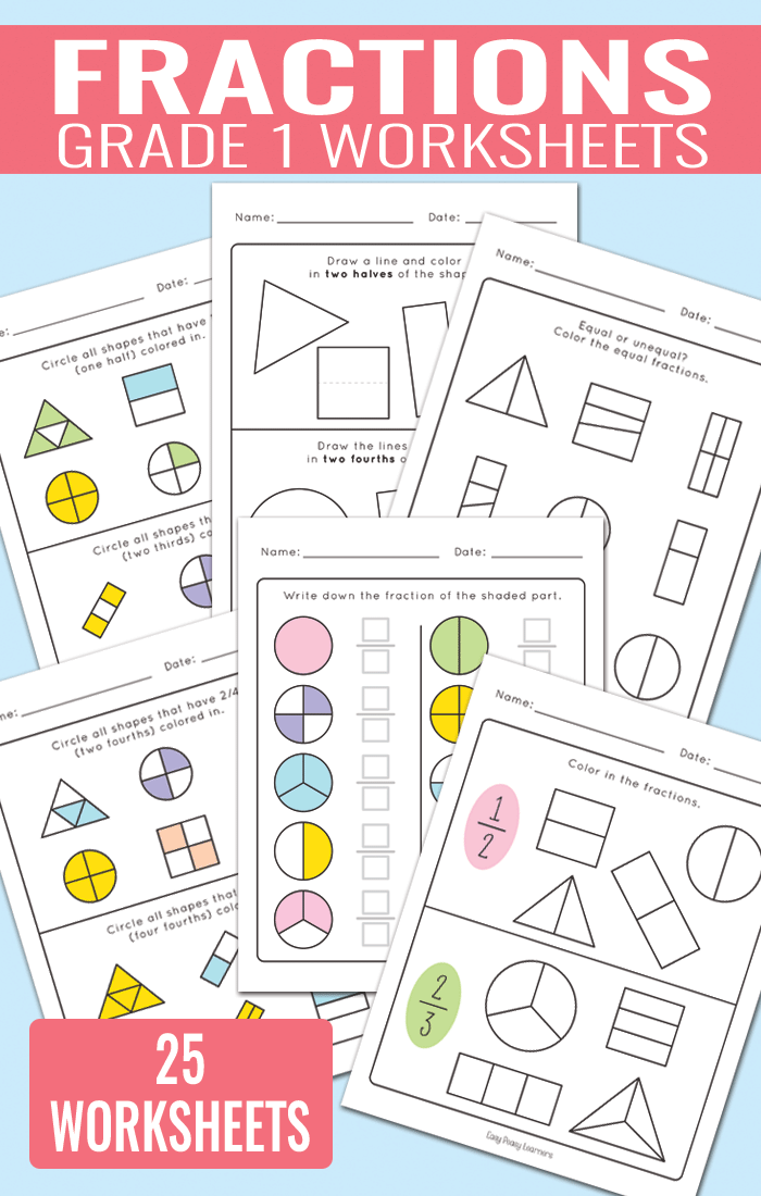 Fractions Worksheets for Grade 1 Easy Peasy Learners – Fractions of a Set Worksheets