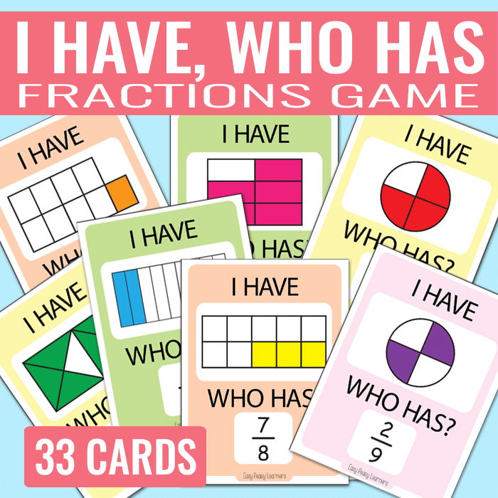 I Have Who Has Fractions Game on Math Games Cards
