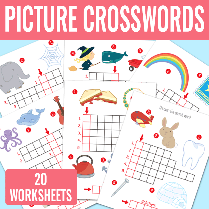 20 Fun Picture Crossword Puzzles for Kids to Solve