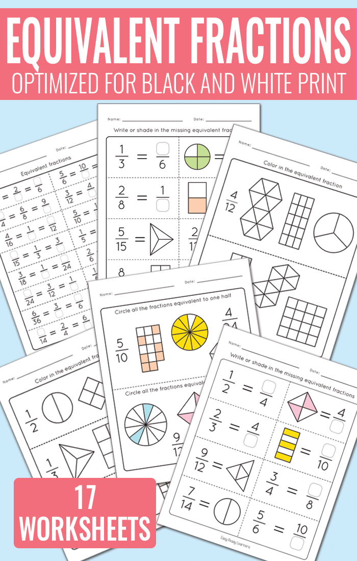 math worksheet : equivalent fractions worksheets  fractions unit  easy peasy learners : Learning Fractions Worksheets