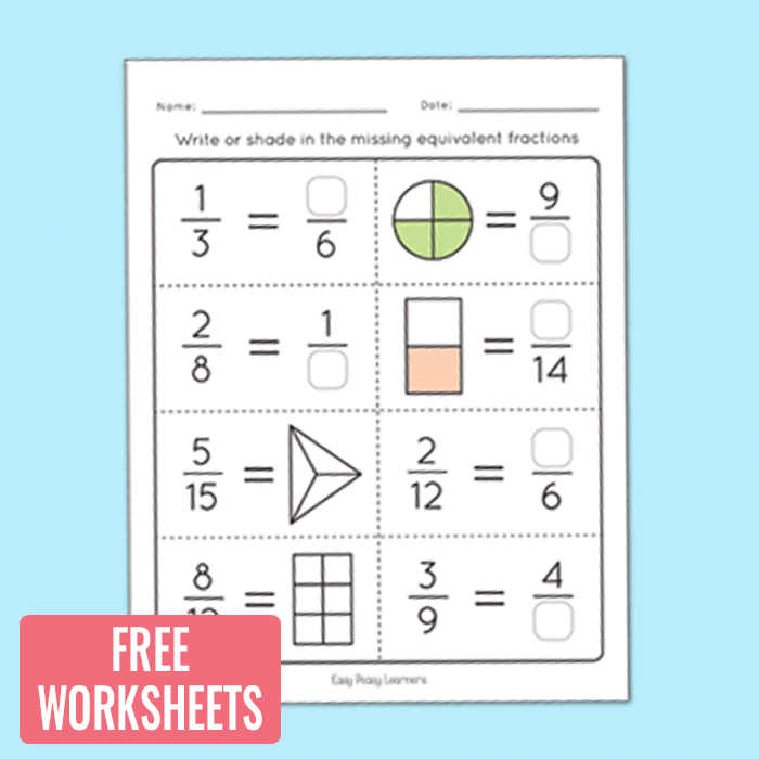 math worksheet : equivalent fractions worksheets  fractions unit  easy peasy learners : Equivalent Fractions Worksheet Free
