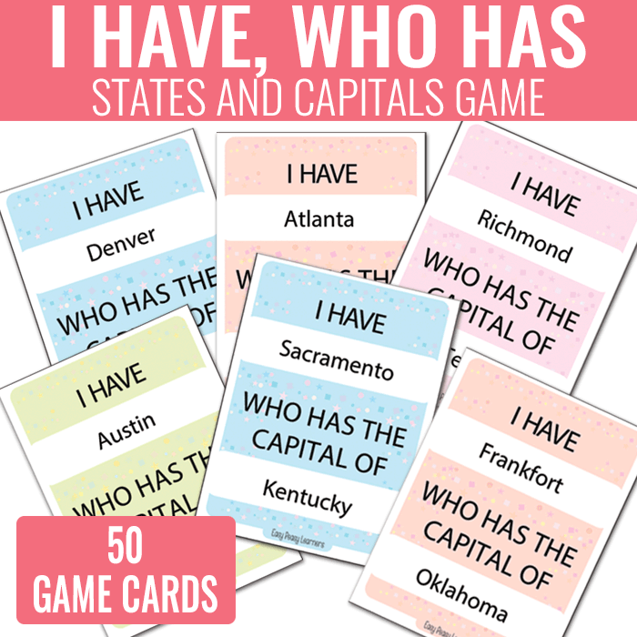 I Have Who Has States and Capitals Game - USA Geography Unit