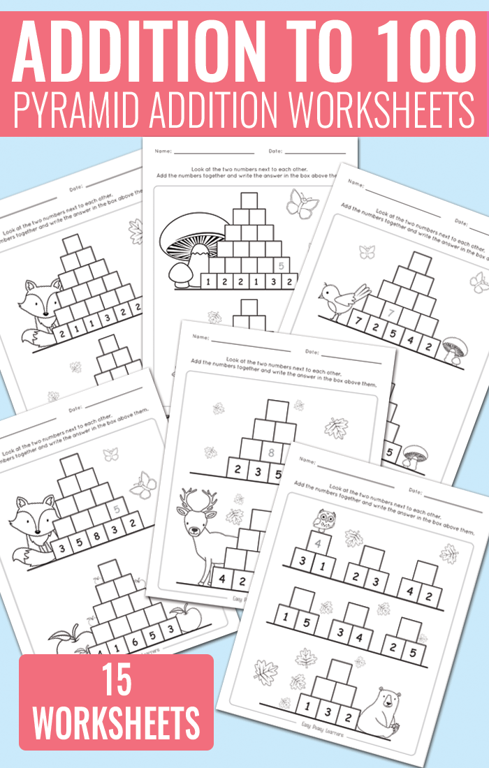 Pyramid Addition up to 100 Worksheets for Kindergarten, Grade 1