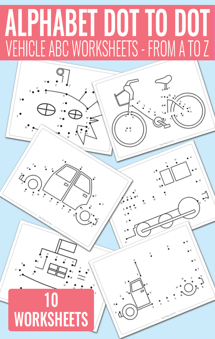Vehicle Dot to Dot Alphabet Worksheets - Easy Peasy Learners