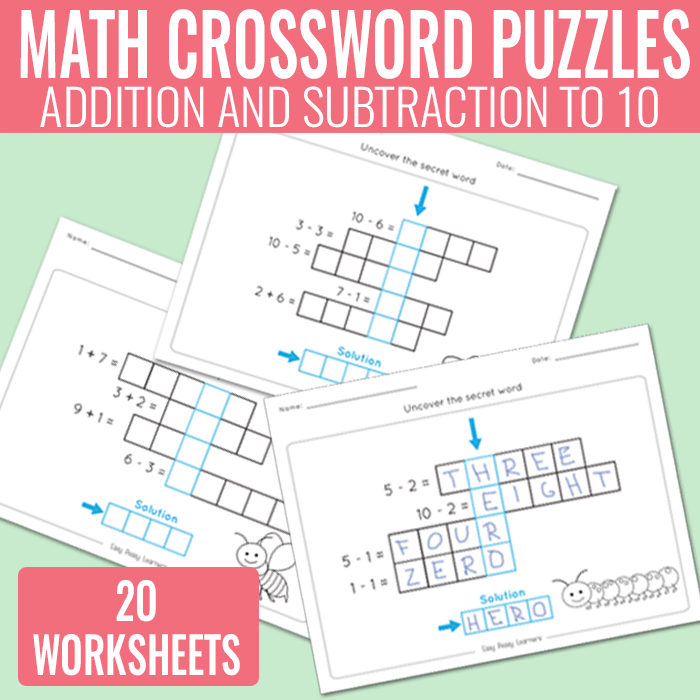 Math Crossword Puzzles Addition and Subtraction to 10 Worksheets – Math Crossword Puzzle Worksheets