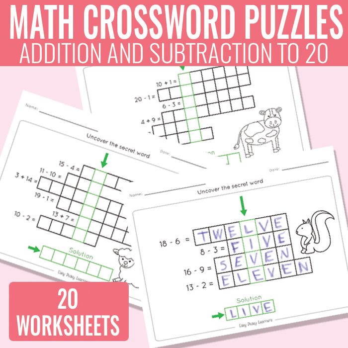 Math Crossword Puzzles Addition and Subtraction to 20 Worksheets – Math Crossword Puzzle Worksheets