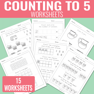 Counting to 5 Worksheets for Kindergarten