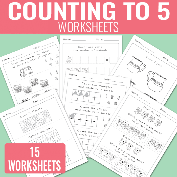 Count to 5 Kindergarten Worksheets