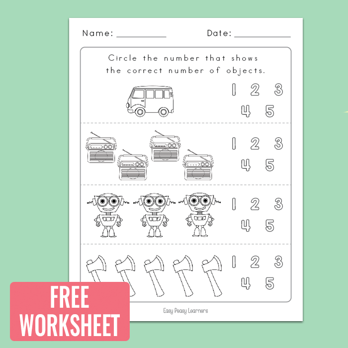 Free Printable Counting to 5 Worksheet for Kindergarten
