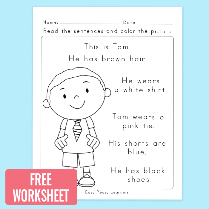 Read and Color Reading Comprehension Worksheets for Grade 1 and Kindergarten