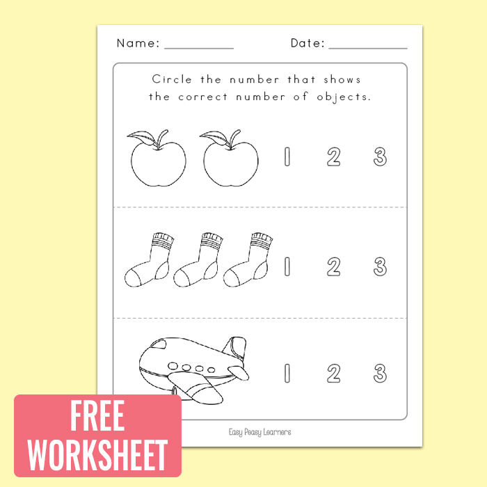 Freebie Worksheet Counting to 3