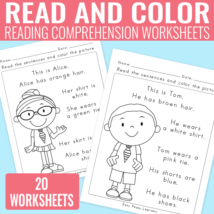Read and Color Reading Comprehension Worksheets for Grade 1 and – Kindergarten Fill in the Blank Worksheets