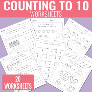 Counting to 10 Worksheets – Kindergarten Math Worksheets
