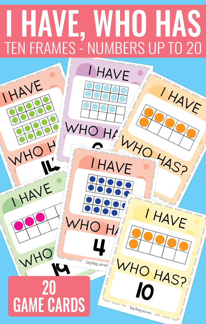 I Have, Who Has Ten Frames up to 20 Game - Perfect Kindergarten Ten Frame Game