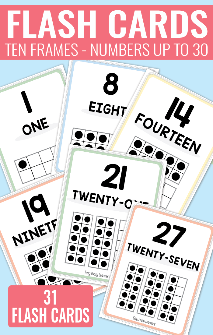 Printable Ten Frame Flash Cards Numbers 0 to 30, in two sizes