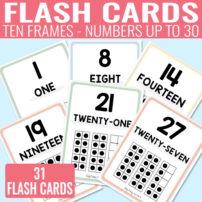Ten Frames Flash Cards for Kindergarten and Grade 1