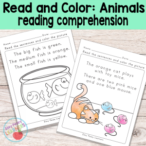 Animals Read and Color Reading Comprehension Worksheets