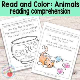 Reading Comprehension Worksheets for Kindergarten and Grade 1 Animal Theme