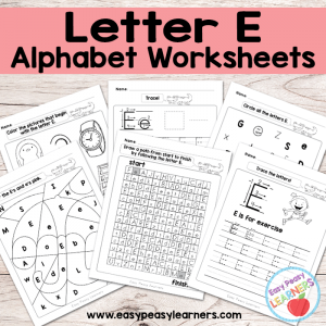 Letter E Worksheets – Alphabet Series