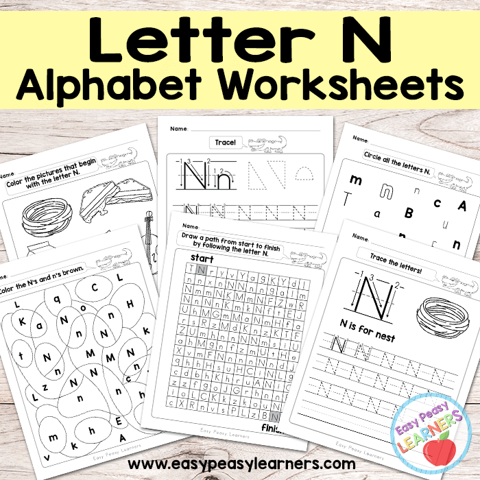 Alphabet Worksheets - Letter N