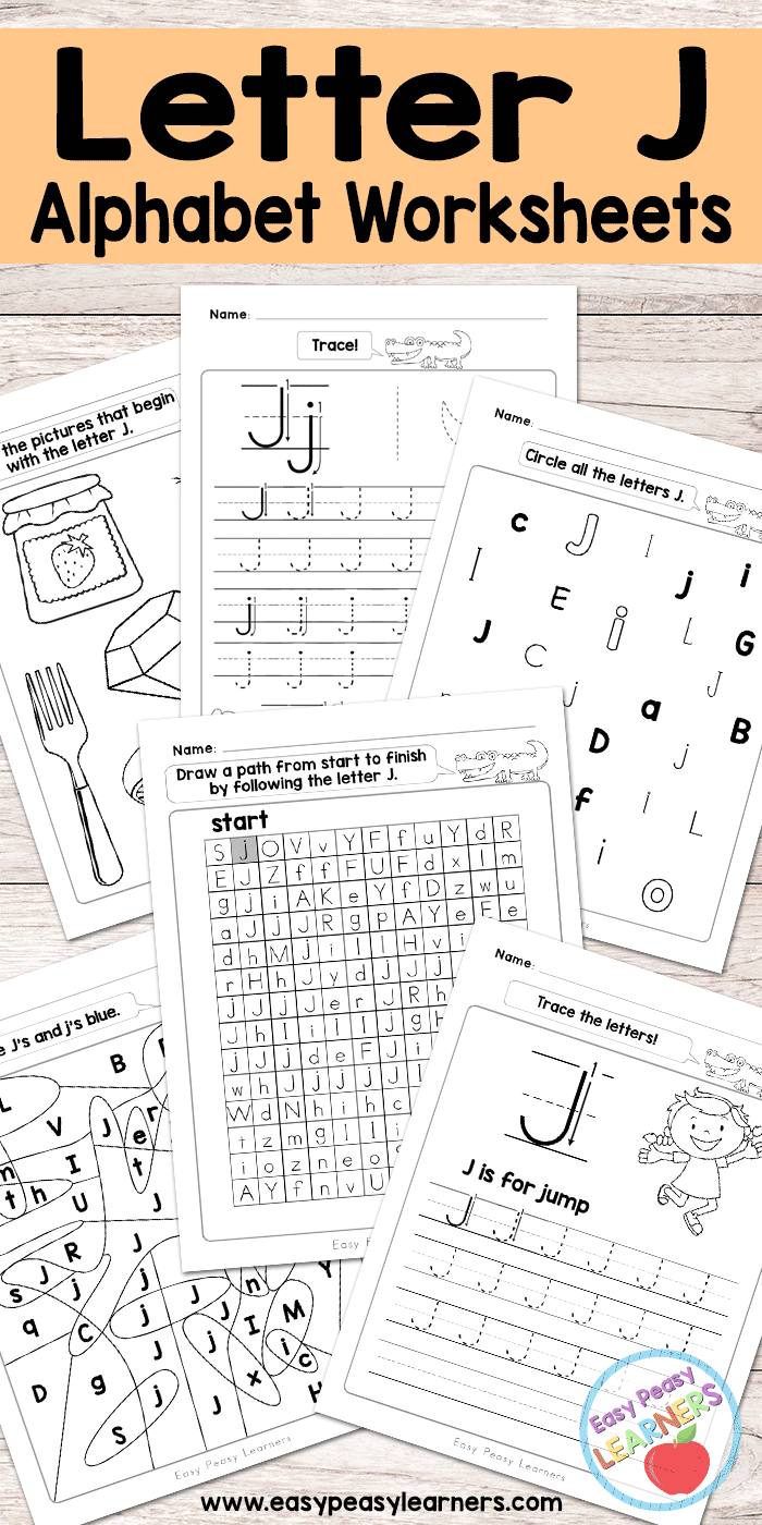 letter j worksheets alphabet series easy peasy learners. Black Bedroom Furniture Sets. Home Design Ideas
