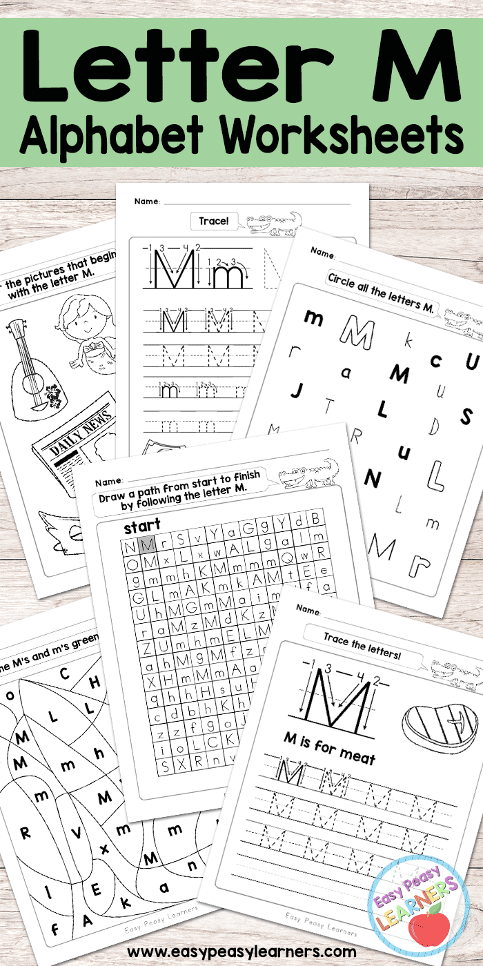 letter m worksheets alphabet series easy peasy learners. Black Bedroom Furniture Sets. Home Design Ideas