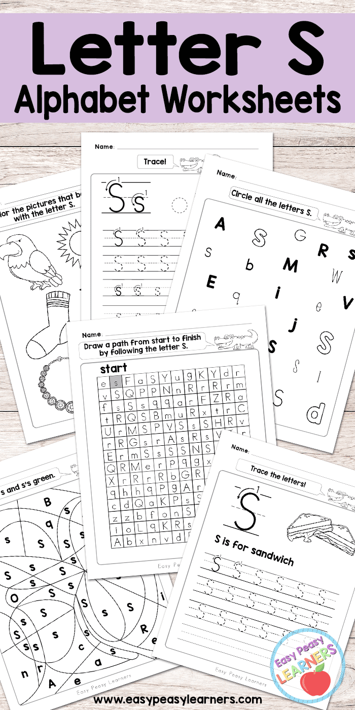 Letter S Worksheets Alphabet Series Easy Peasy Learners – Letter S Worksheets