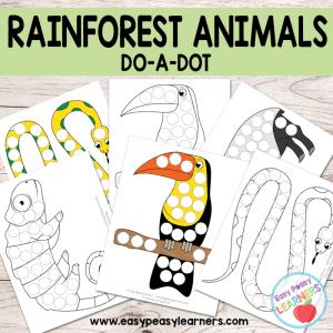 Free Rainforest Animals Do a Dot Printables