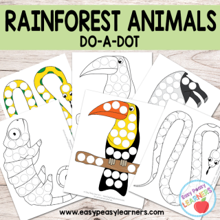 Free Rainforest Animals - Do a Dot Printables - python, toucan, chameleon and tapir