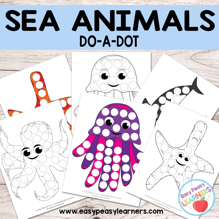 Free Sea Animals - Do a Dot Printables - starfish, killer whale, octopus and jellyfish