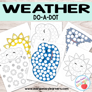 Free Weather Do a Dot Printables - sun, cloud, tornado and snow