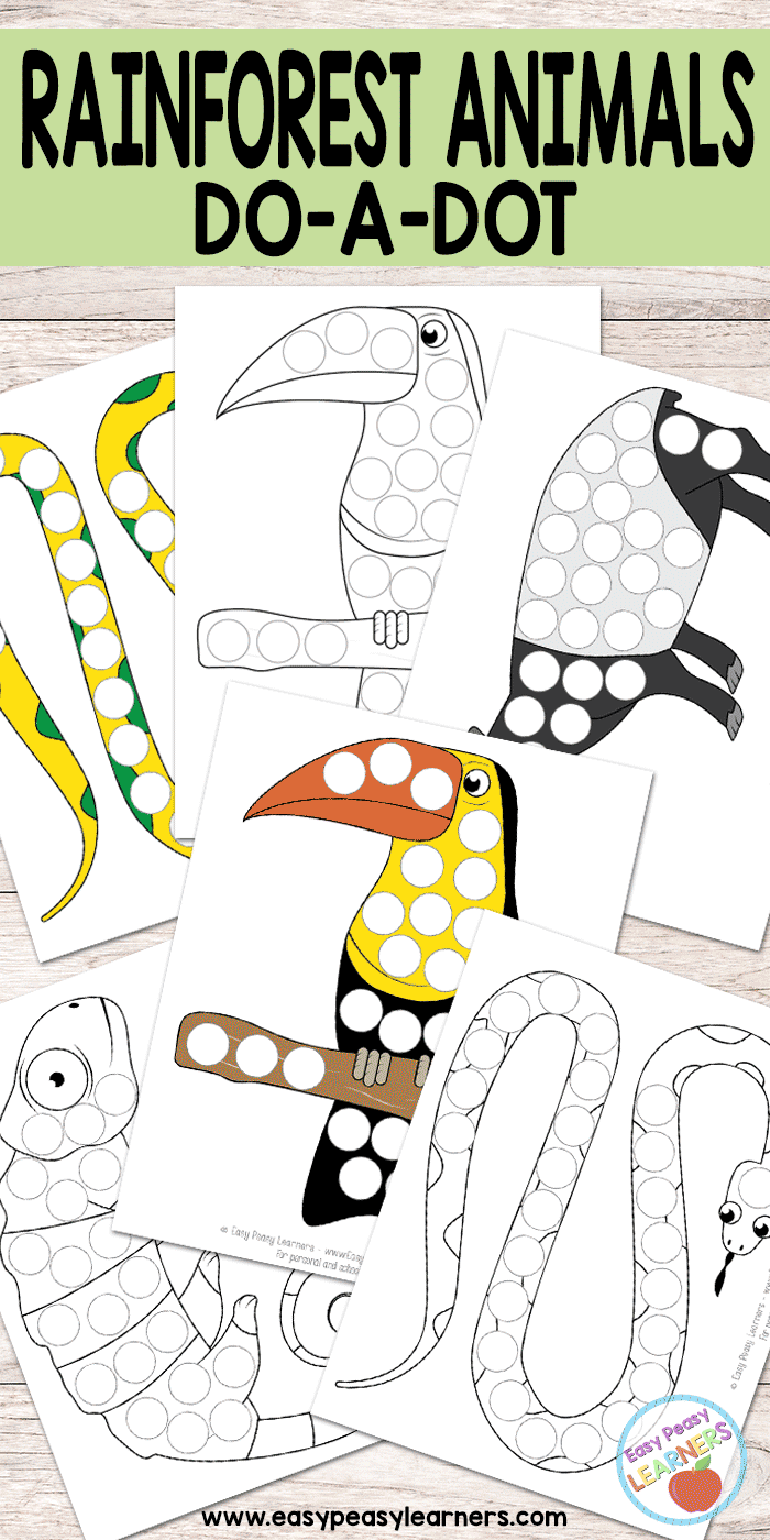 Rainforest Animals - Do a Dot Printables - python, toucan, chameleon and tapir