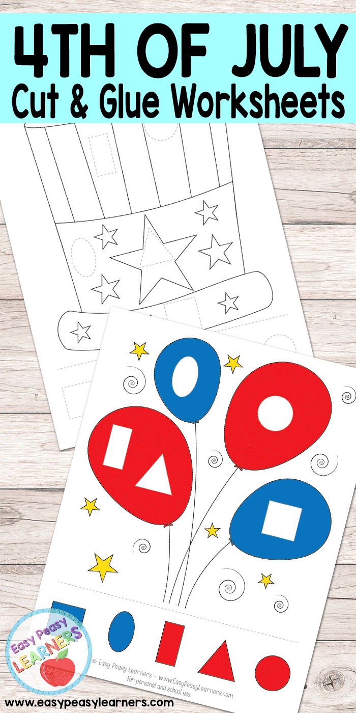 4th of July - Cut and Glue Worksheets