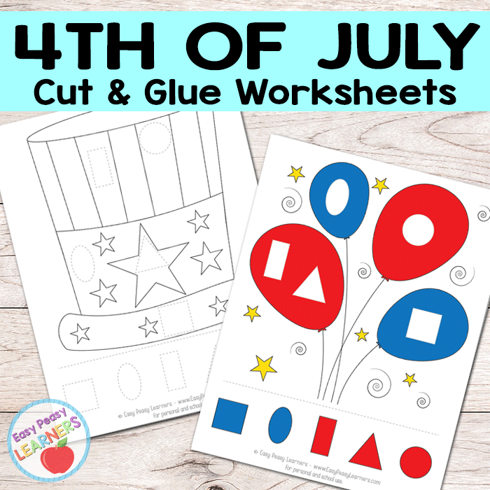 Free 4th of July Cut and Glue Worksheets