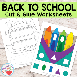 Free Back to School Cut and Glue Worksheets