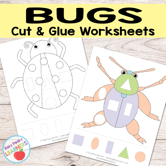 Free Bugs Cut and Glue Worksheets