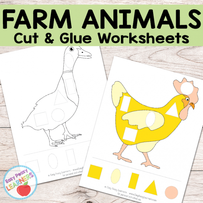 Free Farm Animals Cut and Glue Worksheets