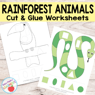 Free Rainforest Animals Cut and Glue Worksheets