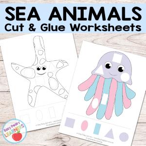 Free Sea Animals Cut and Glue Worksheets