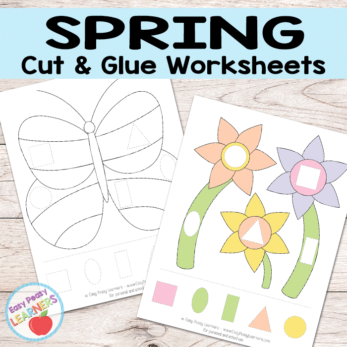 Free Spring Cut and Glue Worksheets