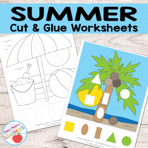 Free Summer Cut and Glue Worksheets