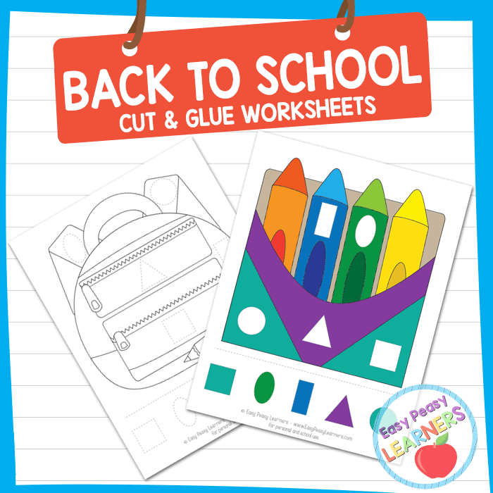 Lovely Back to School Cut and Glue Worksheets