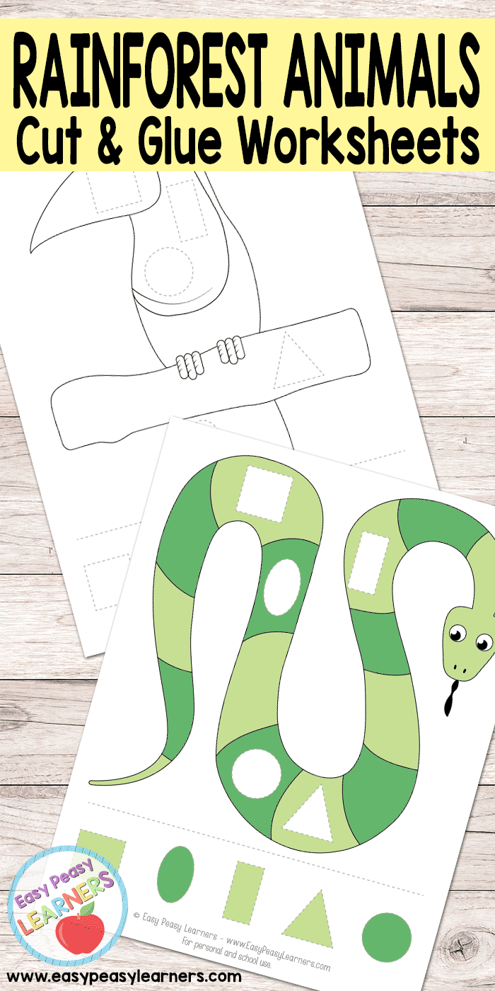 Free Rainforest Animals Cut and Glue Worksheets - Easy Peasy Learners