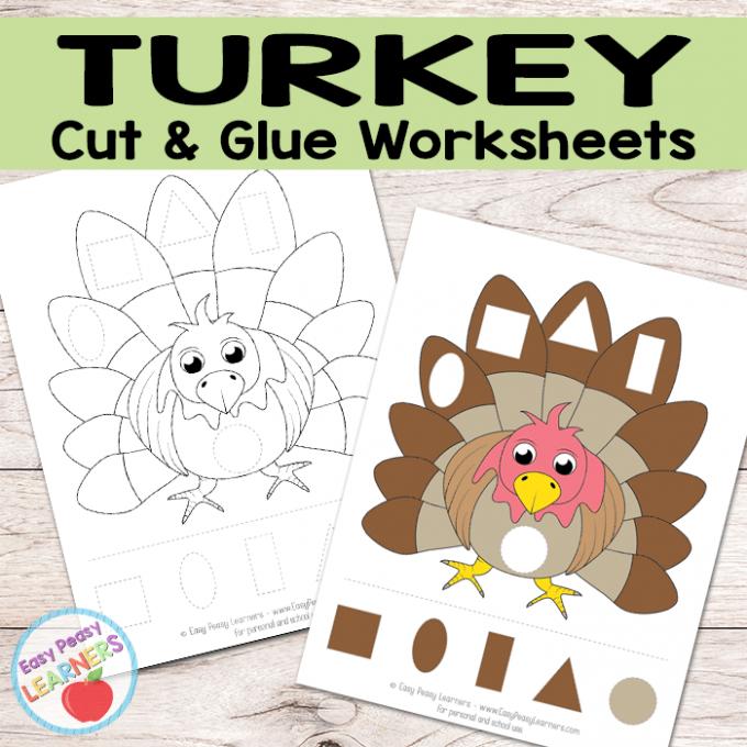 Free Turkey Cut and Glue Worksheets