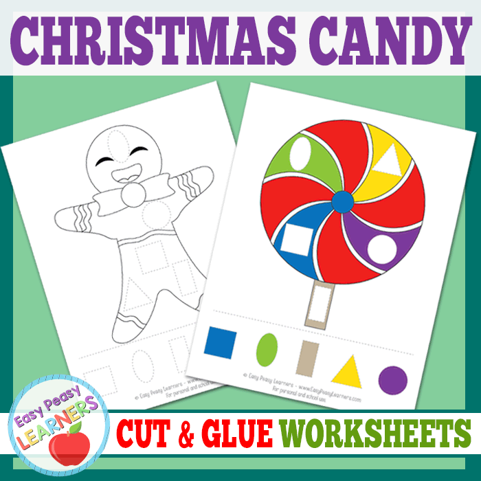 Lovely Christmas Candy Cut and Glue Worksheets