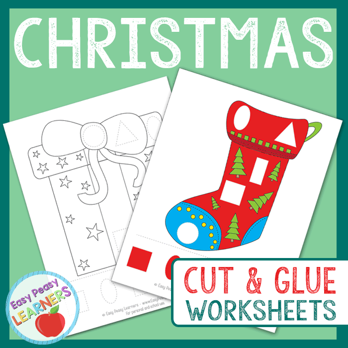 Lovely Christmas Cut and Glue Worksheets