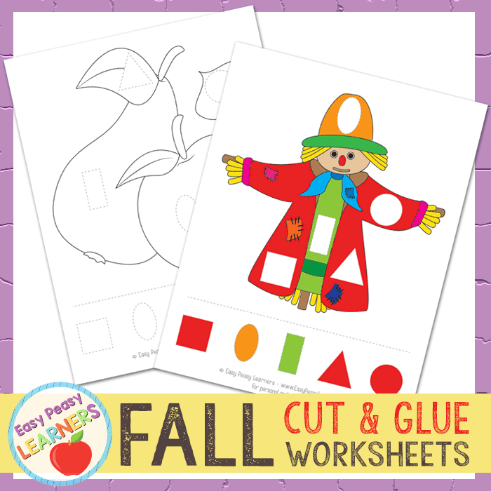 Lovely Fall Cut and Glue Worksheets