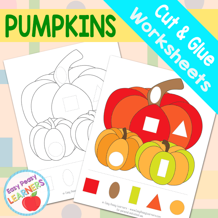 Free Pumpkins Cut and Glue Worksheets - Easy Peasy Learners